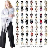 Wholesale muffler scarf female resale online - Triangle Women Plaid Scarf Winter Warm Cashmere Shawls Female Blanket Muffler Pashmina Scarves Triangular Bandage Cape Brand Christmas Gifts