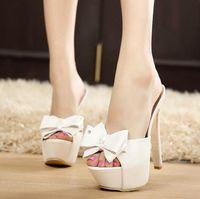 ingrosso tacchi a farfalla neri-Estate sexy nero + bianco scarpe da donna pantofole tacchi alti da sposa scarpe da festa farfalla-nodo tacchi sottili in pelle PU piattaforma sandali bowtie