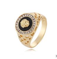homens anel europeu venda por atacado-Frete Grátis Desejar Venda Quente Europeus e Americanos Estilo Diamond Lion Head Anel de Jóias Por Atacado dos homens