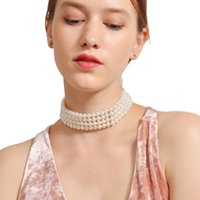 short 14k gold chains NZ - European and American fashion street photography handmade multi - layer pearl short necklace party chain women brand designer necklace