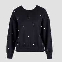 Wholesale dotted sweatshirts resale online - Chicing High Street Fall Winter Pearl Beading Oversized Hoodie Women Fashion O Neck Long Sleeve Pullover Sweatshirt