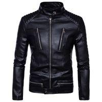 famoso marca mens casaco venda por atacado-2017 famosa marca mens faux casacos de pele roupas piloto de moda motocicleta importado pp crânio jaqueta de couro homens slim fit B013
