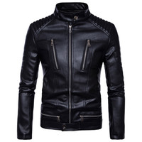 Wholesale mens fitted leather motorcycle jacket - 2017 famous brand mens faux fur coats clothes fashion pilot motorcycle imported pp skull leather jacket men slim fit B013
