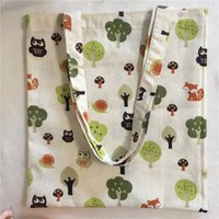 Wholesale squirrel bag resale online - YILE Cotton Linen Shopping Tote Shoulder Carrying Bag Eco Reusable Bag Printed Tree Owls Mushroom Squirrel L054