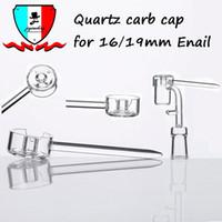 um tampão do carburador venda por atacado-Quartz Carb Cap apto para 15.5mm 19.5mm Enail quartz catb cap lidar com um air hole dab plataformas de petróleo