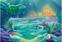 vinil zeminler toptan satış-5x7FT Küçük Denizkızı Altında Deniz Yatak Caslte Mercanlar Ariel Prenses Özel Fotoğraf Stüdyosu Arka Plan Vinil 220 cm x 150 cm