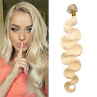 Wholesale ash blonde human hair extensions - 1 PC Body Wave Ash Blonde Brazilian European Virgin Remy Human Hair bundle 613 Hair Extension Free Shipping