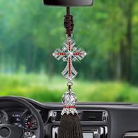 автомобильный кулон оптовых-Car Pendant Crystal Diamond Jesus Cross Car Decoration Crucifix Automobile Rearview Mirror Christian Decor Hanging Accessories