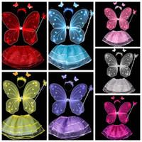traje de diadema al por mayor-Niñas Niños Angel Fairy Butterfly Wing Wand Diadema Disfraz Disfraz Disfraz Cosplay DDA765 Party Supplies