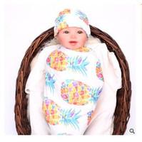 Wholesale Dot Bath Towel - Sleeping Bag Fox Pineapple Baby Blanket Infant Hat Bath Towels Fox Baby Fashion Swaddling Baby Elephant Swaddle Wrap DHL Free Shipping