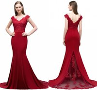 Wholesale shoulder cut online - Elegant Long Formal Dresses for Women Lace Off Shoulder Appliqued Beaded Mermaid Sweep Train Bridesmaid Dresses V Cut Back CPS796