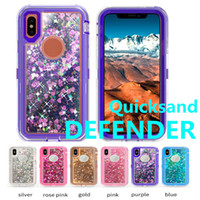 Wholesale Robot Defender - For iPhone X 8 7 Plus 6 6s Plus Samsung Note 8 S8 Plus Bling Liquid Quicksand Crystal Robot Case Defender Hybrid Cover