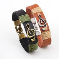 Wholesale Musical Charms Bracelets - Popular Jewelry Music Charm Bracelet - Classic Leather Musical Bracelets - Music Note Charm Bracelets For Women Men