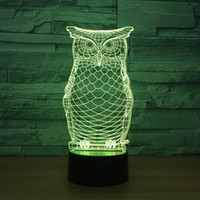 Wholesale owl party lights resale online - 3D Lovely Owl Optical Illusion Lamp Night Light DC V USB Powered th Battery Dropshipping