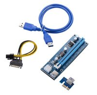 Wholesale Pci E Power Cable - PCIe PCI-E PCI Express Riser Card 1x to 16x USB 3.0 Data Cable SATA to 4Pin IDE Molex Power Supply for BTC Bitcoin Litecoin Miner Machine