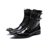 botas estilos homens venda por atacado-Homens de Estilo Britânico de luxo Meados de Bezerro Botas De Couro Da Motocicleta Botas de Cowboy Formal Dos Homens Vestido Rebites Sapatos