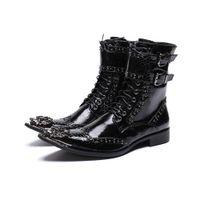 i̇ngiliz elbise botları toptan satış-Lüks İngiliz Tarzı Erkekler Orta Buzağı Çizmeler Deri Motosiklet Kovboy Çizmeleri Resmi Erkekler Elbise Perçinler Ayakkabı
