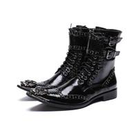 botas de vestir británicas al por mayor-Lujo estilo británico de los hombres botas de mitad de la pantorrilla de cuero botas de vaquero de la motocicleta hombres formales vestido remaches zapatos
