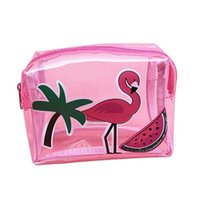 Wholesale Transparent Fabric Wholesale - Transparent Cosmetic Storage Bag Flamingo Pattern Make up bags girl's organizer Bag Travel Essential Toiletry PVC Pouch #10