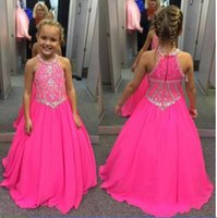 Wholesale halter applique chiffon wedding dress online - Halter Flower Girl Dresses Custom Made Sleeveless Chiffon Floor length Girls Pageant Dresses Kids Birthday Party Dresses