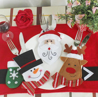 Wholesale cutlery knife holders resale online - 6 Styles Xmas Christmas Tableware Decoration Santa Claus Set Knife and Fork Holder Cutlery Bag Christmas Desktop Decoration CCA10486