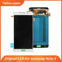 samsung note screen digitizer al por mayor-Pantalla LCD original para Samsung Galaxy Note 5 SM-N920 N920A N9200 N920C Pantalla táctil Digitalizador Reemplazo de montaje completo Piezas de reparación
