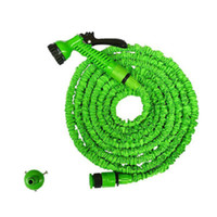 Wholesale garden spray nozzles - 3X Expandable Magic Hose with 7in1 Spray Gun Nozzle 25FT 50FT 75FT 100FT Irrigation System Garden Hose Water Gun Pipe DHL Free
