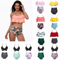 Wholesale two piece black swimsuit - 11 Colors Women Waist Polka Dot Bikini Sexy Print Swimwear Summer Beachwear Lotus Leaf Floral Bikini Set Bra Swimsuit Bathing Suits AAA357
