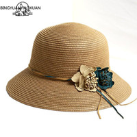 Wholesale flower girls hat sale resale online - BINGYUANHAOXUAN New Hot Sale Summer Fashion Hat For Women Flower Hat Girls Spring and Summer Capeline Beach Straw Hats