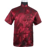 coreano moda vestido de casamento de manga longa venda por atacado-Borgonha Homens Chineses Camisa de Lazer de Verão de Alta Qualidade Rayon De Seda Kung Fu Tai Chi Camisas Plus Size M L XL XXL XXXL M061308
