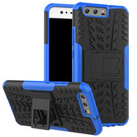 huawei p8 dual toptan satış-Lüks Lastik Çift Katmanlı Silikon Telefon Kılıfı için Huawei P20 P10 Lite Mate 10 P8 Lite 2017 Onur 10 V10 Telefon Çapa