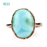 opal taş yüzükleri toptan satış-Doğal larimar gümüş yüzük, oval 12mm * 14mm, nadir ve güzel mavi taş, moda ve popüler tarzıY1883003