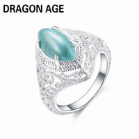 Wholesale Oval Vintage Ring - whole saleNew Hot Sale 2018 Women's Vintage Oval Green Turquoises Stone Ring Personalized Jewelry Plated Silver Finger Rings Size 6-10