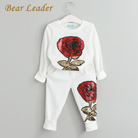 Wholesale leaders clothing - Bear Leader Girls Clothing Sets 2017 Autumn Wool Sportswear Long Sleeve Rose Floral Embroidered Sequinsets Kids Clothing Sets