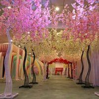 decorações flor cereja venda por atacado-Decoração de casamento romântico cereja flor árvore estrada citada arco noiva e noivo fotografar adereços muitas cores disponíveis