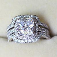 anillo de boda conjunto amortiguador al por mayor-Victoria Wieck Cojín tallado 8 mm Diamante 10KT Juego de anillos de boda de compromiso de los amantes de oro blanco rellenado 3 en 1 Sz 5-11
