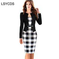 женские платья оптовых-Women Dress Suits Female Elegant Business Work Formal Office Blazer Suits Full Sleeve Knee Length Pencil Dress Plus Size S-4XL