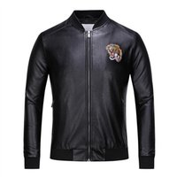 Wholesale Winter Jackets America Europe - Autumn and winter new tide men and women in Europe and America personality tiger head flower embroidery Slim PU simulation leather jacket