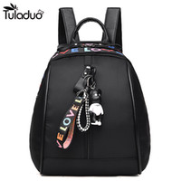 Wholesale ribbon bear - Women Silt Pocket Waterproof Backpacks Ribbon School Bags With Mini Bear For Teenagers Casual Travel Computer Laptop Bag