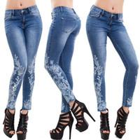 Wholesale women jeans elegant - Women Flora Embroidery Slim Denim Skinny Jeans Ladies Elegant Sexy Full Length Pencil Pants Free Shipping