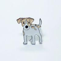 caixa do anel masculino venda por atacado-Jack russell terrier anéis para as mulheres homens cor prata liga de zinco aberto ajustável masculino feminino dog ring jóias com caixa de presente