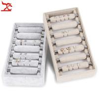 Fashion Small Cute Detachable Ring Display Tray Grey Velvet 7 Bar Ring Storage Tray Convenient Linen Ring Holder Showcase Box