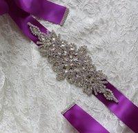 ingrosso vere e proprie abiti da principessa-Bellissima immagine reale Abiti da sposa Cintura sposa cinturini cinghie di strass di cristallo nastro da Prom Evening Princess Blush fatti a mano