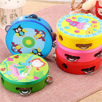 Wholesale drum percussion instrument online - Kid Musical Instrument Tambourine Hand Held Drum Bell Metal Jingles Percussion Toy For Party Performance Props New Arrival wy Z