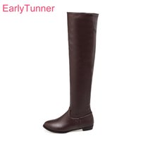 Discount sexy nudes thigh highs - Brand New Winter Sales Sexy Women Thigh High Boots Black Brown Beige Vogue Lady Nude Shoes Low Heel ECT18 Plus Big size 10 45 43