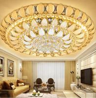 luxus-hotel pendelleuchten großhandel-Neue Ankunft K9 Kristallleuchter 3/7 Farbe Fernbedienung Pendelleuchte Luxus Kristall Deckenleuchte Kronleuchter