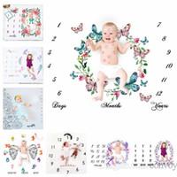 tecidos com estampas de flores venda por atacado-29 tipos de fotografia do bebê recém-nascido adereços de fundo do bebê foto tecido backdrops infantil cobertores envoltório letra flor números de pano de impressão BHB26