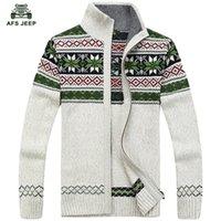 ingrosso jeep sweaters-Spedizione gratuita AFS JEEP mens Cardigan Maglioni Uomo Winterspring Maglione Top stand Collare Uomo slim Abito casual Maglieria 85 S917