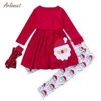 7600d8f532fe ARLONEE toddler girl clothe Christmas children s long sleeve cartoon Santa  Claus dress + pants + hair band winter sets 2018new