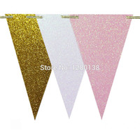 Wholesale glitter banners for sale - Group buy 40pack Pink White and Gold Glitter Paper Pennant Flag Banner Bridal Shower Unicorn Party Nursery Decoration Garland